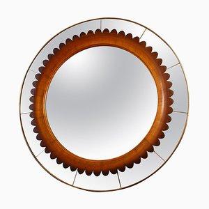 Specchio da parete rotondo in legno di noce intagliato di Fratelli Marelli, Italia, anni '50