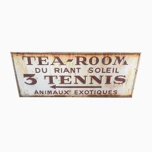 Cartel de metal para sala de té y tenis