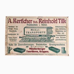 Cartel de Reinhold Tilk Möbeltranporte, década de 1900