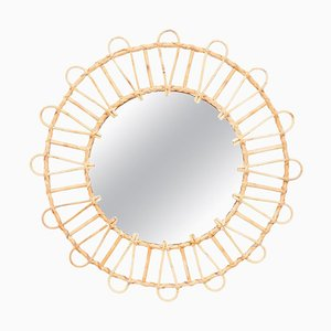 Mid-Century Modern Handcrafted Mirror in Bamboo and Rattan, French Riviera, 1960s