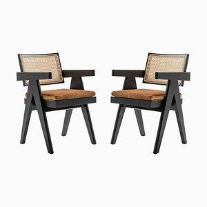 Chaise de Bureau 051 Capitol Complex avec Coussins par Pierre Jeanneret pour Cassina, Set de 2