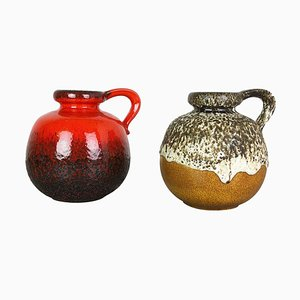 Model 484-21 Pottery Fat Lava Vases from Scheurich, Germany, 1970s, Set of 2