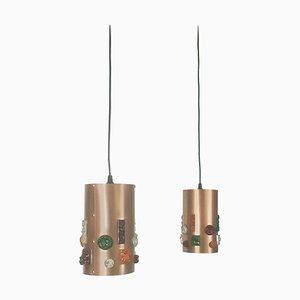 German Copper Hanging Lights, Germany, 1970s, Set of 2