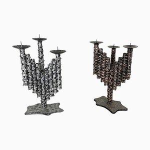 Vintage Sculptural Brutalist Metal Candleholders, France, Set of 2