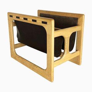 Revistero danés minimalista de madera de roble de Salin Møbler, años 70