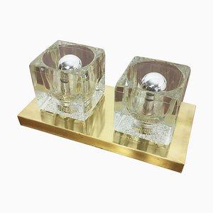 Messing Eiswürfel Wandleuchte aus Glas von Peill & Putzler, 1970er