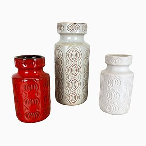 Pottery Fat Lava Vases from Scheurich, Germany, 1970s, Set of 3