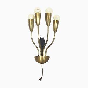 Italienische Wandlampe aus Metall & Messing, 1960er