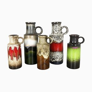 Pottery Fat Lava 401 Vases from Scheurich, Germany, 1970s, Set of 5