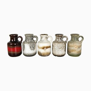 Vintage 414-16 Pottery Fat Lava Vases from Scheurich, Germany, Set of 5