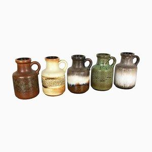 Vintage Fat Lava 414-16 Keramikvasen von Scheurich, Deutschland, 5er Set