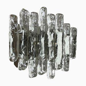 Large Hollywood Regency Ice Glass Wall Light by J. T. Kalmar, 1960s