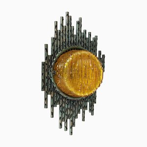 Brutalist Copper Wall Sconce with Glass by Marcello Fantoni, Italy, 1960s