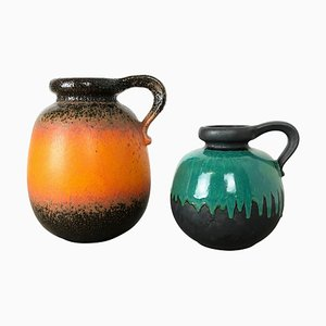 Model 484 Pottery Fat Lava Vases from Scheurich, Germany, 1970s, Set of 2