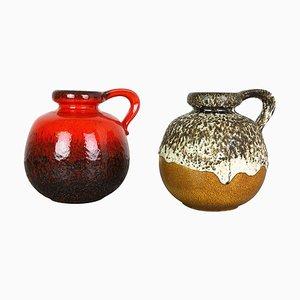 Modell 484-21 Pottery Fat Lava Vasen von Scheurich, 1970er, 2er Set