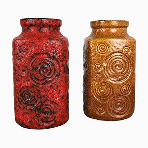 Jura 282-20 Pottery Fat Lava Vasen von Scheurich, 1970er, 2er Set