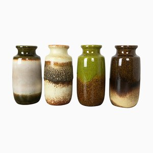 Vintage 213-20 Pottery Fat Lava Vases from Scheurich, Germany, Set of 4