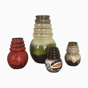 Vintage Pottery Fat Lava Vienna Vases from Scheurich, Germany, Set of 4