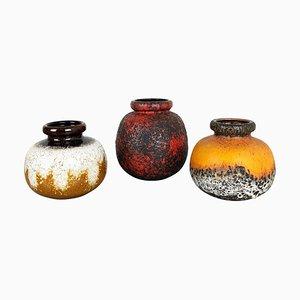 Mehrfarbige Fat Lava Keramikvasen von Scheurich, 1970er, 3er Set