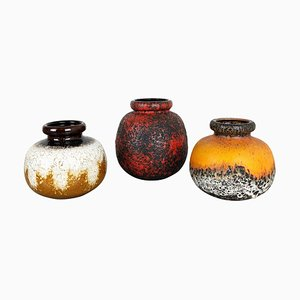 Multi-Colored Fat Lava Ceramic Vases from Scheurich, Germany, 1970s, Set of 3