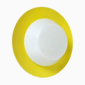 Large Yellow Wall Light with Metal & Opaline Glass in the Style of Stilnovo, Italy, 1960s