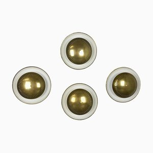 Modernist Brass & Metal Sconces in the Style of Sarfatti, Italy, 1950s, Set of 4
