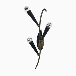 Extra Large Modernist Floral Brass Theatre Sconce, France, 1950s