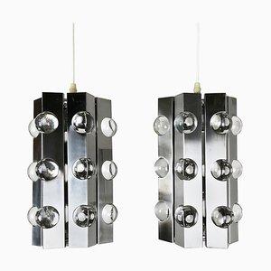 Moderne silberne Sputnik Hängelampen von Cosack, 1970er, 2er Set