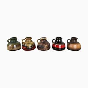 Vasi Fat Lava nr. 493-10 in ceramica di Scheurich, Germania, set di 5