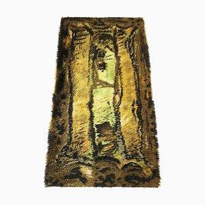 Alfombra Rya escandinava abstracta de pelo largo, años 60