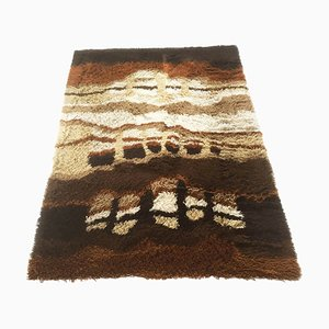 Large Modernist Abstract Multi-Colored High Pile Rya Rug from Desso, 1970s