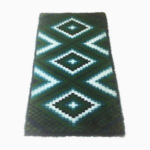 Scandinavian Square Pattern Rya Rug by Ege Taepper, Denmark, 1960s