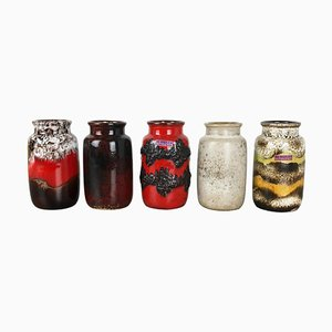 Fat Lava Ceramic Model 231-15 Vases from Scheurich, Germany, Set of 5