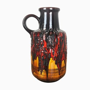 Large Multi-Colored Fat Lava Ceramic Vase from Scheurich, 1970s