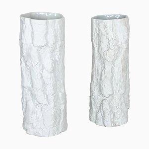 Op Art Brutalist Porcelain Vases from Bayreuther, Bavaria, Germany, 1970s, Set of 2