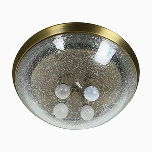 Ice Glass Bubble Brass Wall Ceiling Light from Hillebrand Leuchten, Germany, 1970s