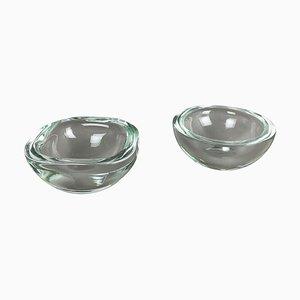 Murano Heavy Glass Shell Bowls, Italy, 1960s, Set of 2