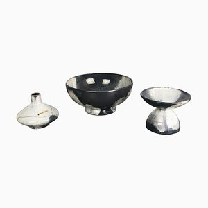 Grey Ceramic Studio Pottery Vases from Otto Keramik, Germany, 1980s, Set of 3