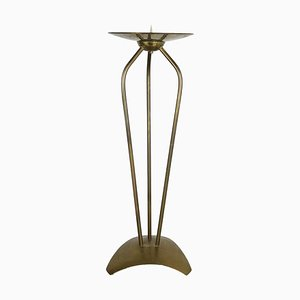 Modernist Sculptural Brutalist Floor Brass Candleholder, Germany, 1950s