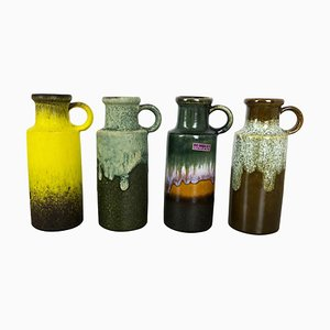Vintage Pottery Fat Lava 401-20 Vases from Scheurich, Germany, 1970s, Set of 4