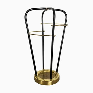 Metal and Brass Hollywood Regency Umbrella Stand, Germany, 1950s