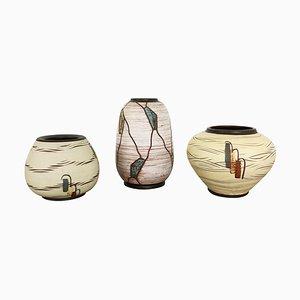 Ceramic Pottery Vases by Franz Schwaderlapp for Sawa Ceramic, Germany, 1960s, Set of 3