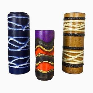 Pottery Fat Lava Tube Vasen von Scheurich, 1970er, 3er Set