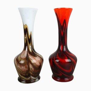 Vintage Pop Art Opalglas Vasen, Italien, 1970er, 2er Set