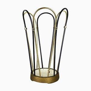Portaombrelli Bauhaus modernista in metallo e ottone, Germania, anni '50