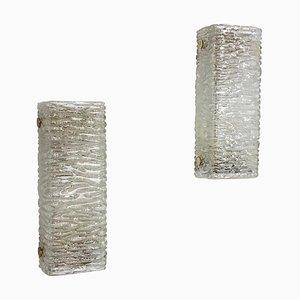 Eisglas Wandlampe aus Metall von Kaiser Leuchten, 1960er, 2er Set