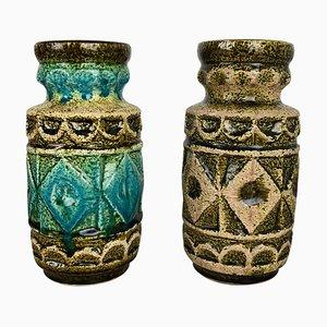 Mehrfarbige Op Art Pottery Vasen von Bay Ceramics, Germany, 1960er, 2er Set