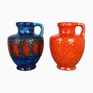 Multi-Color Fat Lava Op Art Pottery Vase from Bay Ceramics, Germany, Set of 2