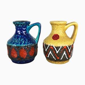 Multi-Colored Op Art Fat Lava Ceramic 215-17 Vases from Bay Keramik, Germany, Set of 2