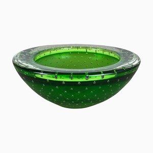 Cuenco o cenicero Bullicante de cristal de Murano verde, años 70